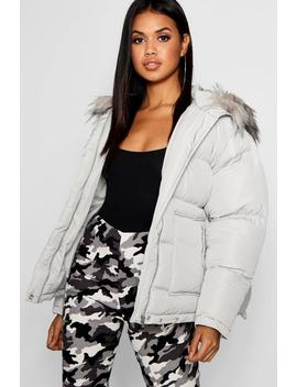 Faux Fur Trim Puffer Jacket by Boohoo