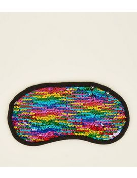 Multi Colour Rainbow Sequin Embellished Eye Mask by New Look