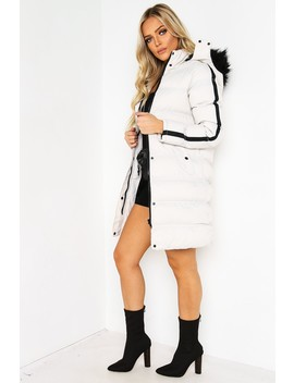 Stone Stripe Sleeve Longline Puffer Coat by Lasula