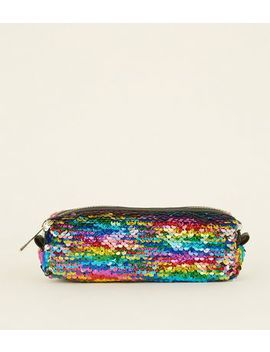 Rainbow Sequin Pencil Case by New Look