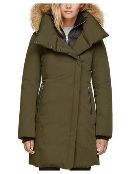 Fur Trim Asymmetric Front Down Coat   100 Percents Exclusive by Soia & Kyo
