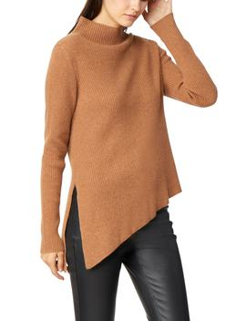 Brette Asymmetrical Rib Knit Cashmere Sweater by Habitual