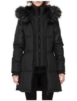 Faux Fur Trimmed Quilted Jacket by Noize