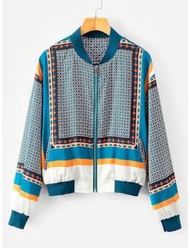 Contrast Trim Geo Pattern Jacket by Sheinside