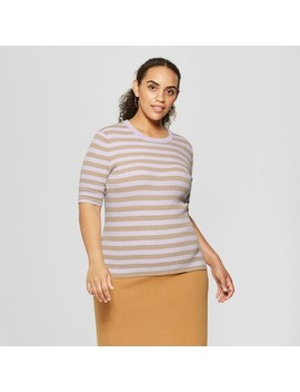 Women's Plus Size Striped Elbow Sleeve Crew Sweater   Who What Wear™ by Who What Wear