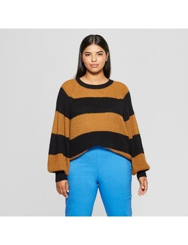 Women's Plus Size Striped Long Sleeve Cozy Crew Neck Sweater   Who What Wear™ by Who What Wear