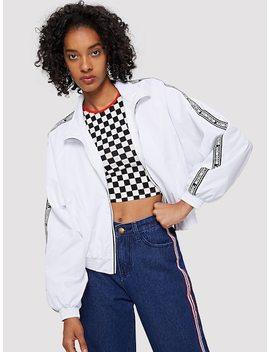 Elastic Cuff And Hem Raglan Sleeve Jacket by Shein