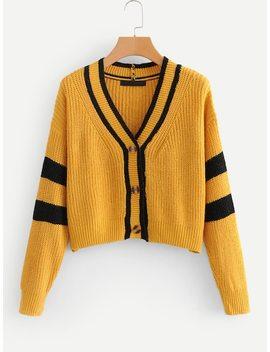 drop-shoulder-contrast-stripe-trim-crop-cardigan by sheinside