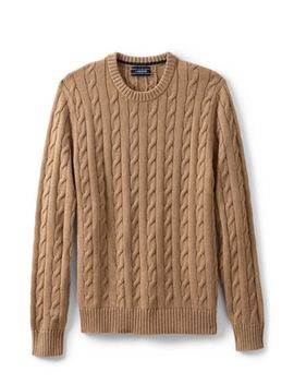 Men's Cotton Drifter Cable Crew Sweater by Lands' End