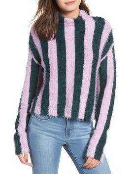Stripe Funnel Neck Eyelash Sweater by Blanknyc