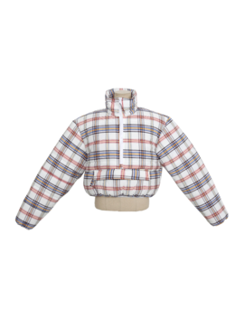 Cropped Padded Check Pattern Jacket by Stylenanda