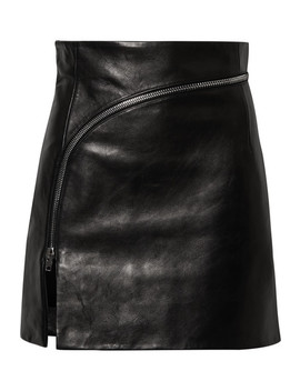 Zip Detailed Leather Mini Skirt by Alexander Wang