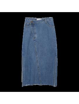 Raw Edged Hem Denim Skirt by Stylenanda