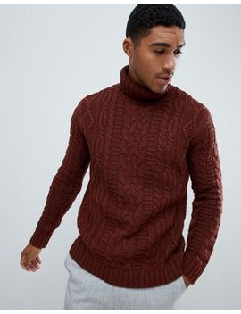Asos Design Heavyweight Cable Knit Roll Neck Sweater In Brown by Asos Design