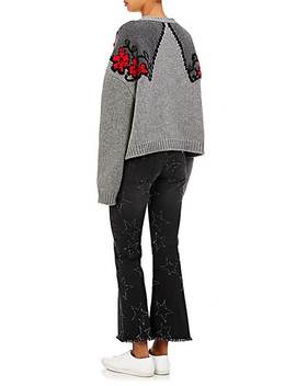 Frayed Star Crop Flared Jeans by Stella Mc Cartney
