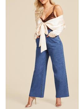 Cinched In High Waist Crop Wide Leg Jeans by Boohoo
