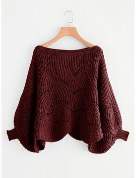 Eyelet Detail Scallop Trim Sweater by Shein