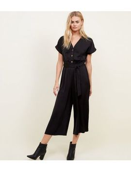 Black Satin Button Front Cropped Jumpsuit by New Look