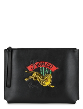 Jumping Tiger Black Leather Pouch by Kenzo