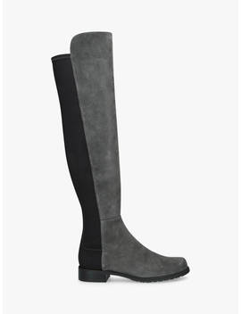 Stuart Weitzman 50:50 Block Heel Knee High Boots, Grey/Black Suede by Stuart Weitzman