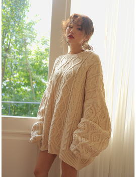 Extended Sleeve Oversized Cable Knit Sweater The Delivery Starts From 30th Aug. Along With Your Purchase Order!! by Stylenanda