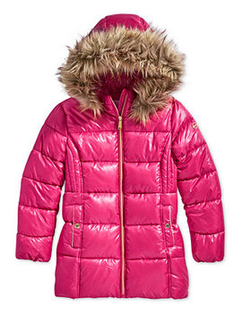 Little Girls Hooded Puffer Stadium Coat With Faux Fur Trim by Michael Michael Kors