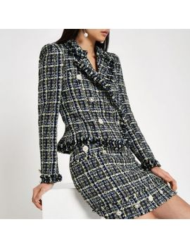Blue Tweed Double Breasted Jacket by River Island