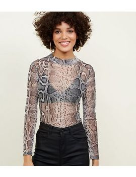 brown-snake-print-mesh-top by new-look