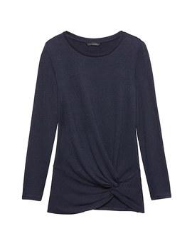 Petite Luxespun Twist Front T Shirt by Banana Repbulic