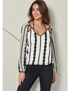 Embroidered Mesh V Neck Top by Venus
