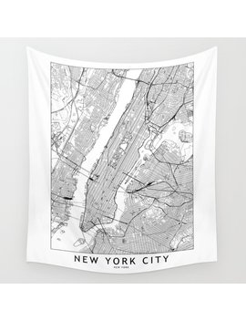 New York City White Map Wall Tapestry by