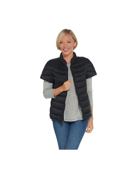 Martha Stewart Quilted Down Short Sleeve Puffer Jacket by Qvc