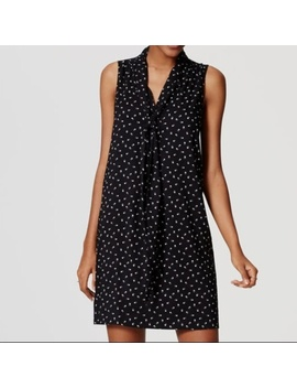 Loft Paw Print Tie Neck Dress by Loft