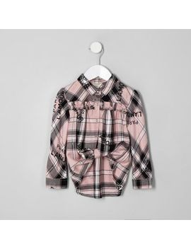 Mini Girls Pink Check 'L'amour' Swing Shirt by River Island