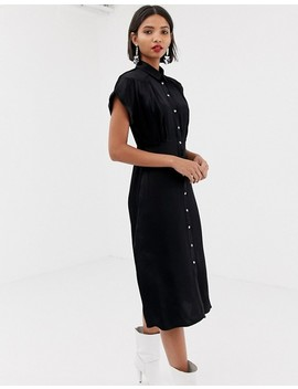 Mango Midi Button Front Dress In Black by Mango
