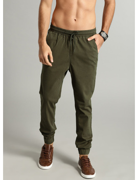 Olive Green Slim Fit Solid Joggers by Roadster