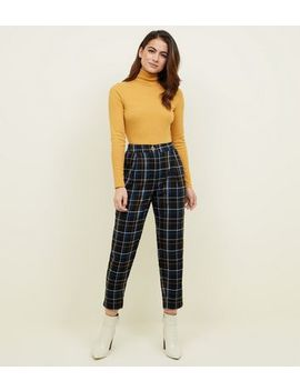 Petite Black Check Tapered Trousers by New Look