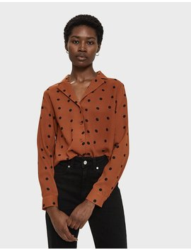 Blythe Polka Dot Shirt In Rust by Farrow