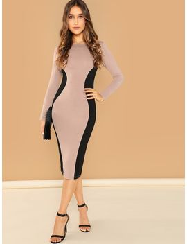Color Block Pencil Dress by Shein
