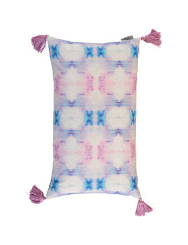 Blue & Pink Patterned Shibori Cushion 35x60cm by Artistic Accents