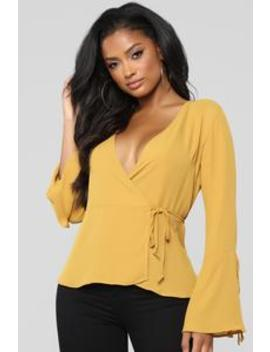 In Love Again Surplice Top   Mustard by Fashion Nova