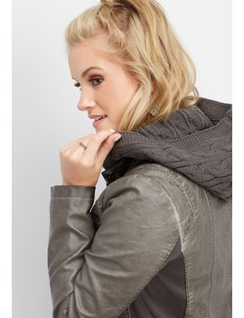 Cable Knit Hood Faux Leather Jacket by Maurices