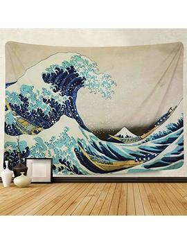 Amkun Tapestry Wall Hanging, Great Wave Kanagawa Wall Tapestry With Art Nature Home Decorations For Living Room Bedroom Dorm Decor (Wave, 150x130cm) by Amkun