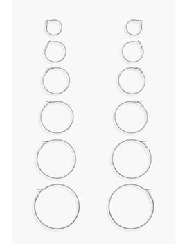 6 Pack Silver Hoop Earrings by Boohoo