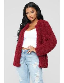 Cozy Lover Fuzzy Jacket   Wine by Fashion Nova
