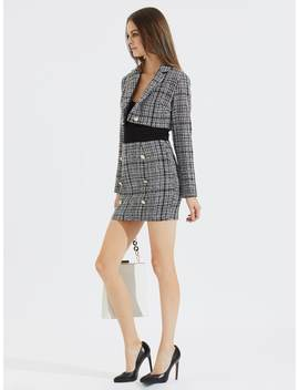 Plaid Tweed Button Skirt by Shein