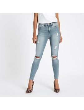 Petite Light Blue Molly Ripped Jeggings by River Island