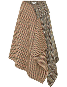 Asymmetric Paneled Checked Wool Blend Midi Skirt by Monse