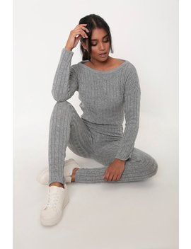 grey-cable-knit-loungewear-set by i-saw-it-first