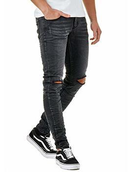 Eighty Five Herren Denim Destroyed Jeans Hose Skinny Fit Zerrissen Schwarz Efj770 by